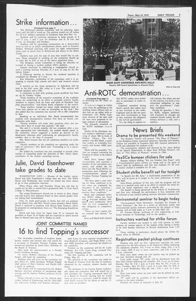 Daily Trojan, Vol. 61, No. 125, May 14, 1970