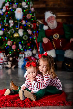 Charlotte & Savannah with Santa