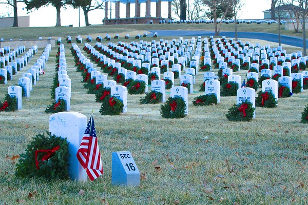 Wreaths at Fort Scott National Cemetery