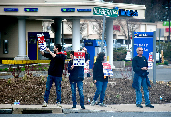 4/11/2019 Mike Orazzi | Staff Striking Stop & Shop workers along Route 6 in Bristol on Thursday.