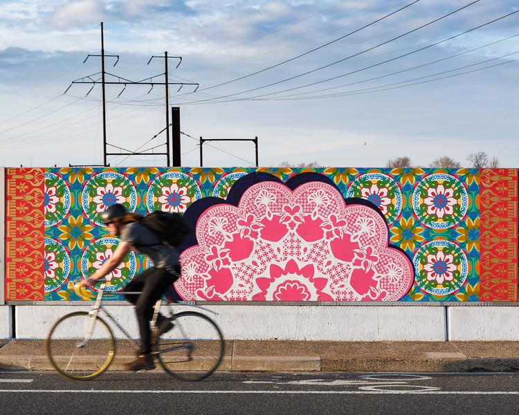 Sing Because it is Heard © 2017 City of Philadelphia Mural Arts Program / Betsy Casanas, Spring Garden Street Bridge. Photo by Steve Weinik.