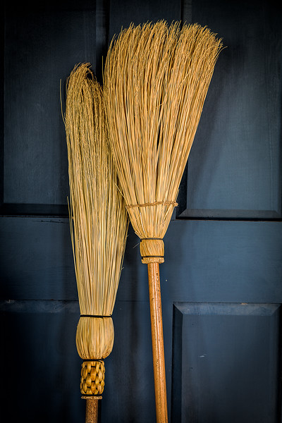 Brooms on Blue