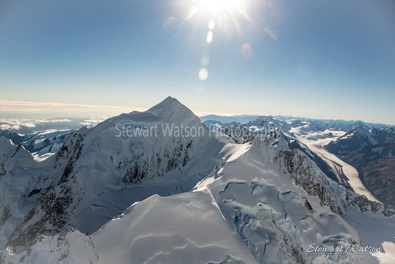 Sun flare above the Alps