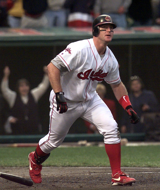 . Cleveland Indians batter Jim Thome watches his solo home run in the sixth inning against the New York Yankees in Game 5 of the American League Championship Series Sunday, Oct. 11, 1998, at Jacobs Field in Cleveland.The Indians lost 5-3 and trail the Yankees 3-2 in the series(AP Photo/Mark Duncan)