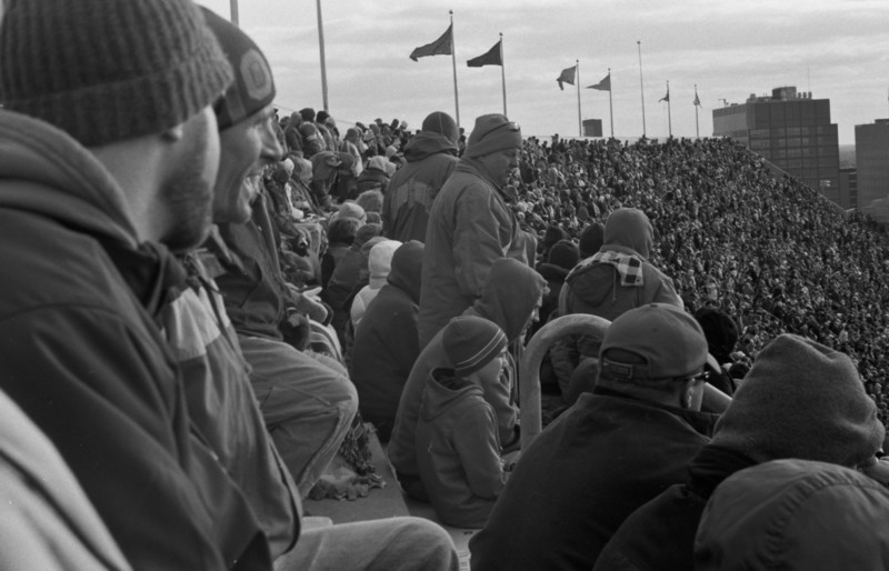 Fans in stadium at a Ohio State football game  Zorki 4K with Jupiter 12