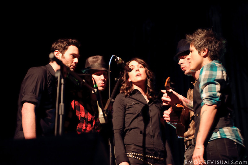 Josh Neumann, Tim Hanseroth, Brandi Carlile, Phil Hanseroth, and Allison Miller perform on February 18, 2010 at Capitol Theatre in Clearwater, Florida