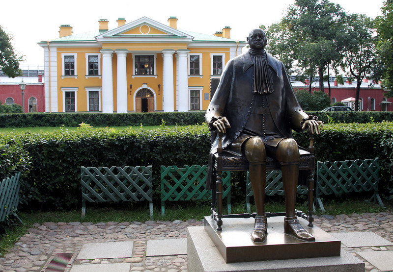 Peter and Paul Fortress - Commandants House and 	statue of Peter the Great.  This statue created in 1991 by Mikhail Shemyakin (an American of Russian descent) is considered quite controversial with it's out of proportion head and hands.
