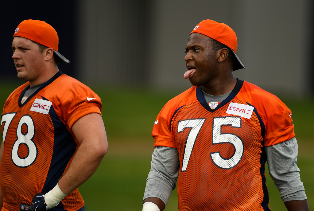. Denver Broncos Cameron Jefferson (75) catches his breath during drills at rookie minicamp May 6, 2016 at UCHealth Training Facility. (Photo By John Leyba/The Denver Post)