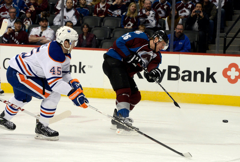 . DENVER, CO. - FEBRUARY 2ND: Colorado Avalanche against the Edmonton Oilers at the Pepsi Center in Denver Colorado, February 2nd, 2013.  (Photo By Andy Cross / The Denver Post)