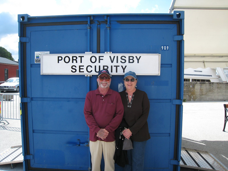 Not a very exciting sign, but he best we could do!  The port security guard took this picture for us (very nice fellow, and cute too!)