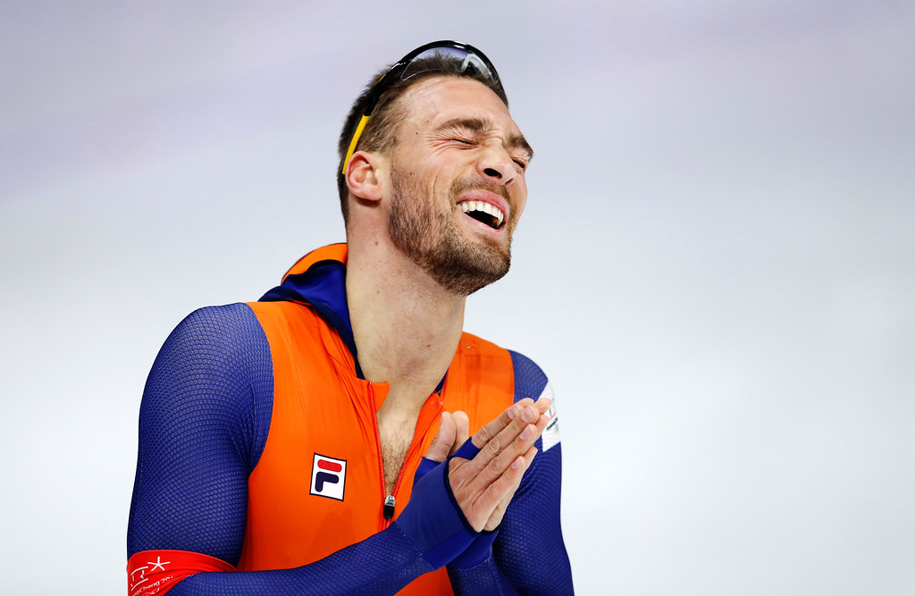 . Gold medallist Kjeld Nuis of The Netherlands celebrates after the men\'s 1,500 meters speedskating race at the Gangneung Oval at the 2018 Winter Olympics in Gangneung, South Korea, Tuesday, Feb. 13, 2018. (AP Photo/Vadim Ghirda)