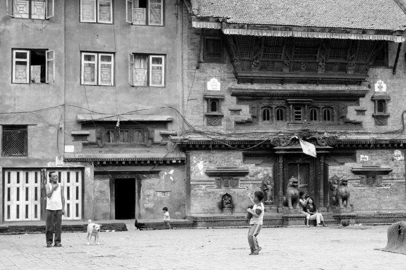 a side street courtyard.  kathmandu