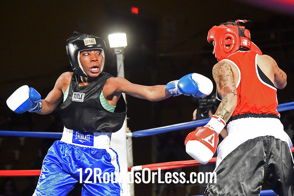 Bout #7:   Cher Blassdell, Steel Town B.C., Ontario, Canada   vs.   Asia Smith, Thurgood Marshall B.C., Cleveland, OH,   123 Lbs.
