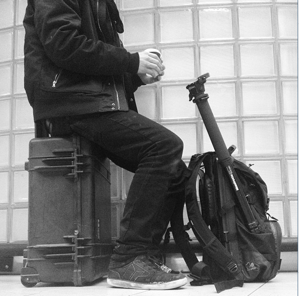 Hanging with my gear at the Amsterdam Airport