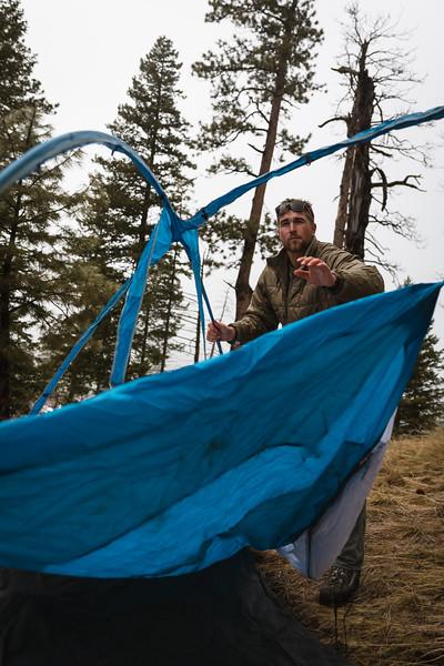 Sam Averett (samaverett) deploying the Skyscraper 2P while shed hunting in Oregon.