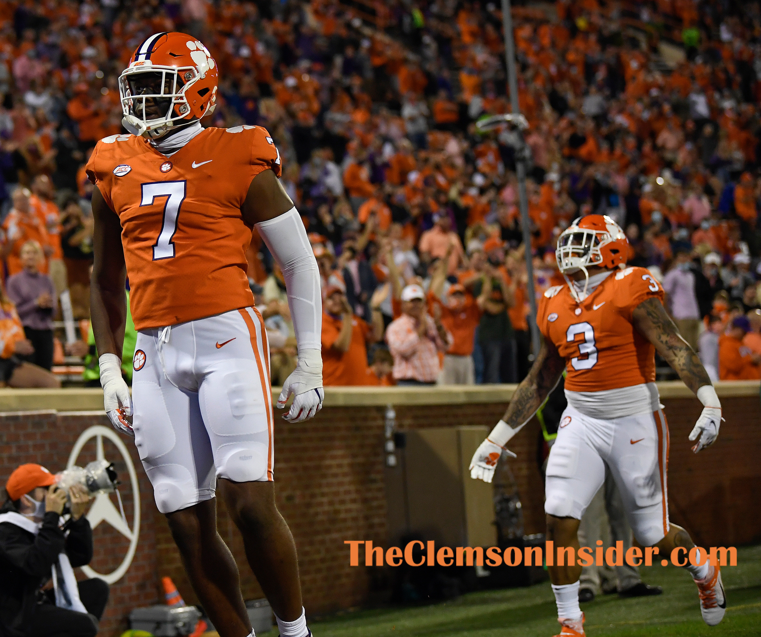 Clemson defensive end Justin Mascoll (7) during pregame of Clemson's game against the University of Miami at Clemson's Memorial Stadium Saturday, October 10, 2020. Bart Boatwright/The Clemson Insider