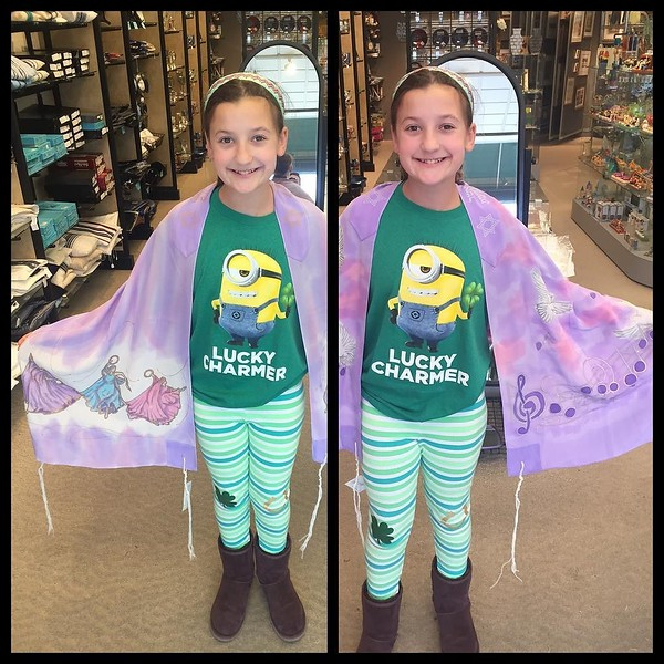 Shopping for her Bat Mitzvah tallit. How can this be happening in less than a month? What happened to our little baby?!
