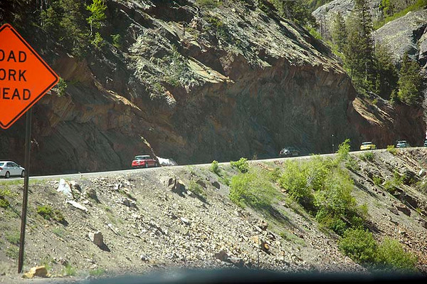 MINIs heading south toward Red Mountain Pass. Part of the San Juan Scenic Byway.