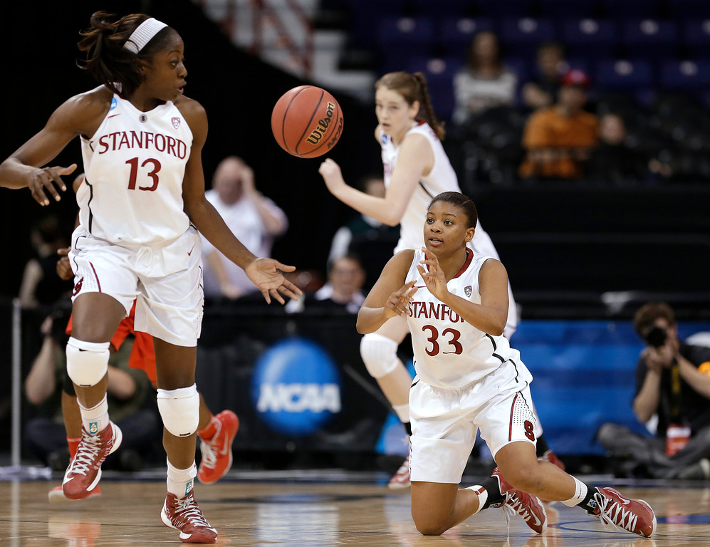. Stanford\'s Amber Orrange (33) passes to Chiney Ogwumike in the first half against Georgia in a regional semifinal in the NCAA women\'s college basketball tournament Saturday, March 30, 2013, in Spokane, Wash. (AP Photo/Elaine Thompson)