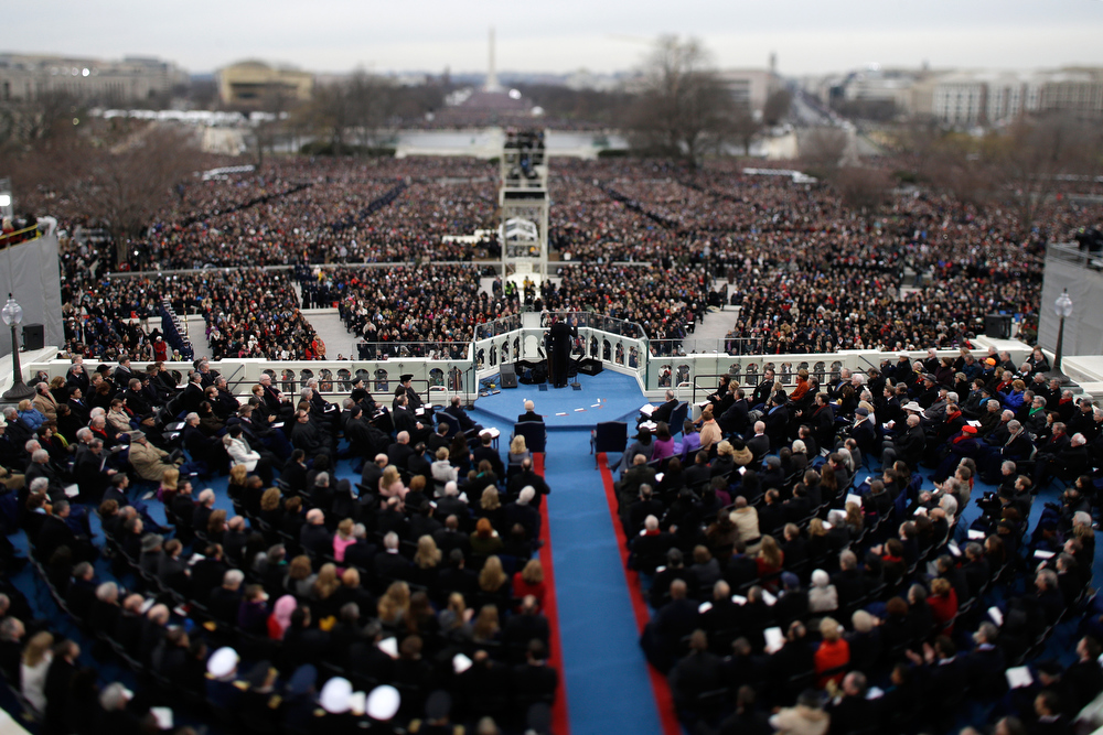. U.S. President Barack Obama gives his inauguration address during the public ceremonial inauguration on the West Front of the U.S. Capitol January 21, 2013 in Washington, DC.   Barack Obama was re-elected for a second term as President of the United States.  (Photo by Rob Carr/Getty Images)