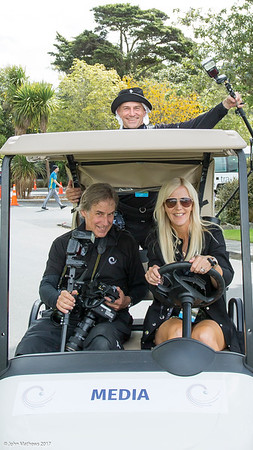 AAC photographers Dave and Graham heading out on a misson at the completion of the final day's play of the Asia-Pacific Amateur Championship tournament 2017 held at Royal Wellington Golf Club, in Heretaunga, Upper Hutt, New Zealand from 26 - 29 October 2017. Copyright John Mathews 2017.   www.megasportmedia.co.nz