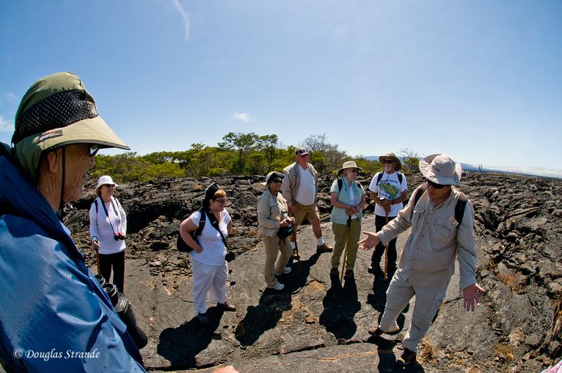 Emile explaining this place, Punta Moreno, Isabela Island