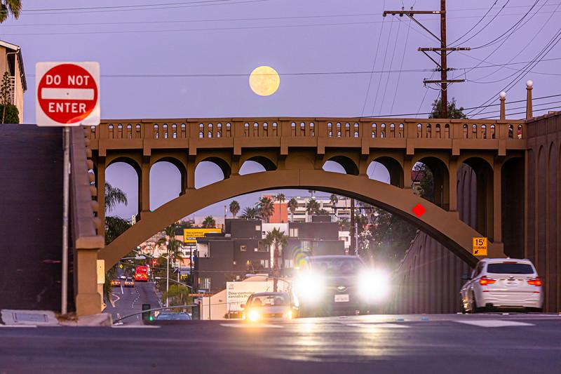 Nearly Full Moon Over the Georgia Street Bridge in San Diego.