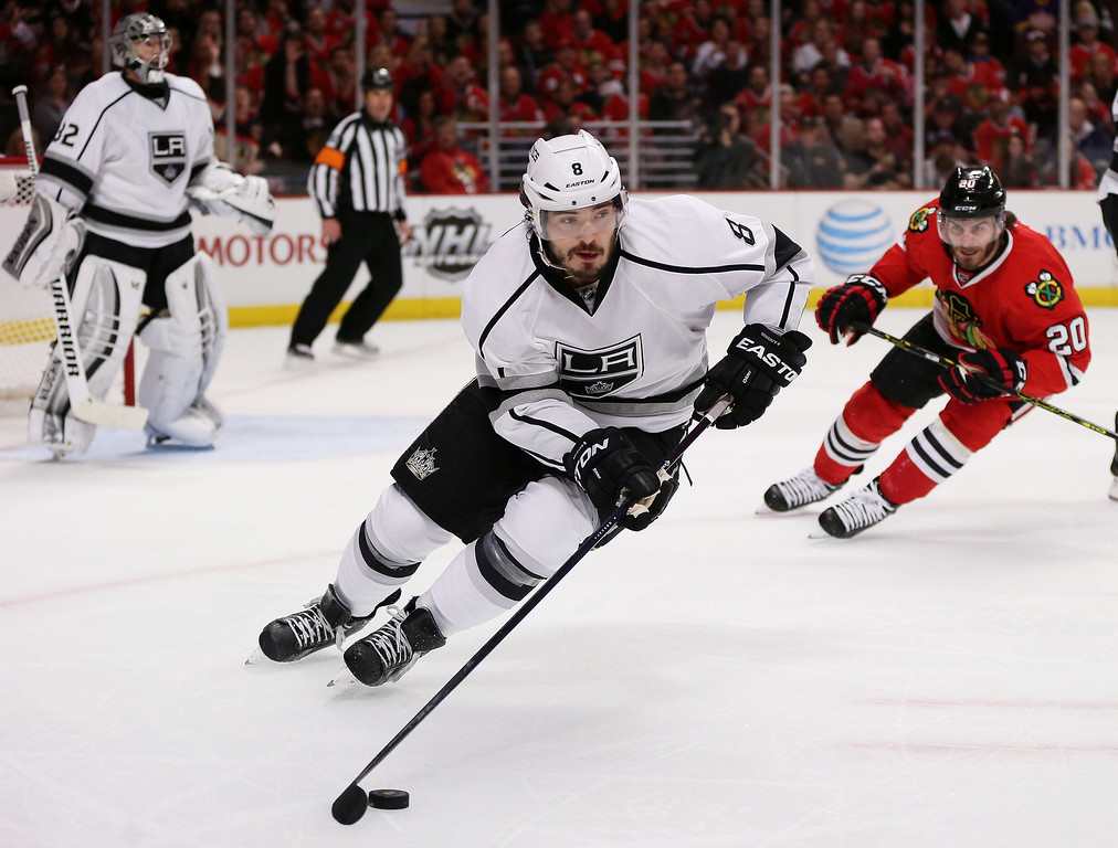 . Drew Doughty #8 of the Los Angeles Kings controls the puck against the Chicago Blackhawks in the second period in Game One of the Western Conference Final during the 2014 Stanley Cup Playoffs at United Center on May 18, 2014 in Chicago, Illinois.  (Photo by Jonathan Daniel/Getty Images)