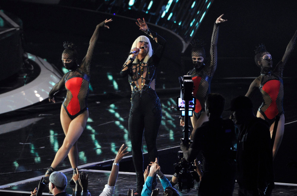 . Iggy Azalea performs onstage at the MTV Video Music Awards at The Forum on Sunday, Aug. 24, 2014, in Inglewood, Calif. (Photo by Chris Pizzello/Invision/AP)