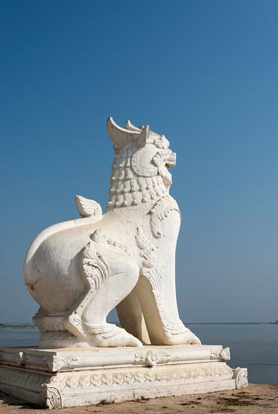 Chinthe (lion deity) statue at Settawya Paya, Mingun, Burma (Myanmar)