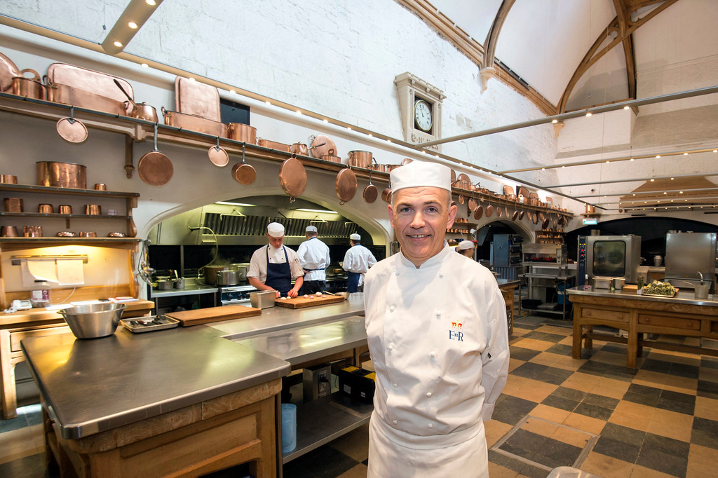 . In this photo taken on Thursday May 10, 2018, Royal chef Mark Flanagan at work in the royal kitchen, as preparations are underway for the reception banquet after the wedding of Prince Harry and Meghan Markle on Saturday, May 19, in Windsor Castle, England. (David Parker/Pool Photo via AP)