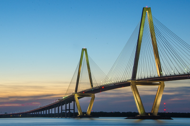 On the evening of the 2nd day we traveled out of town to get pictures at twilight of the Ravenel Bridge.  There are lights that make it look pretty nice at night.