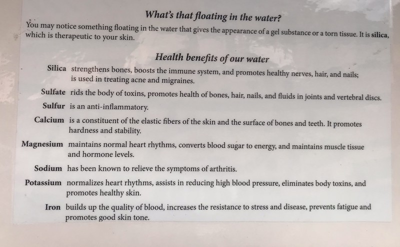 an instructional sheet about hot springs water