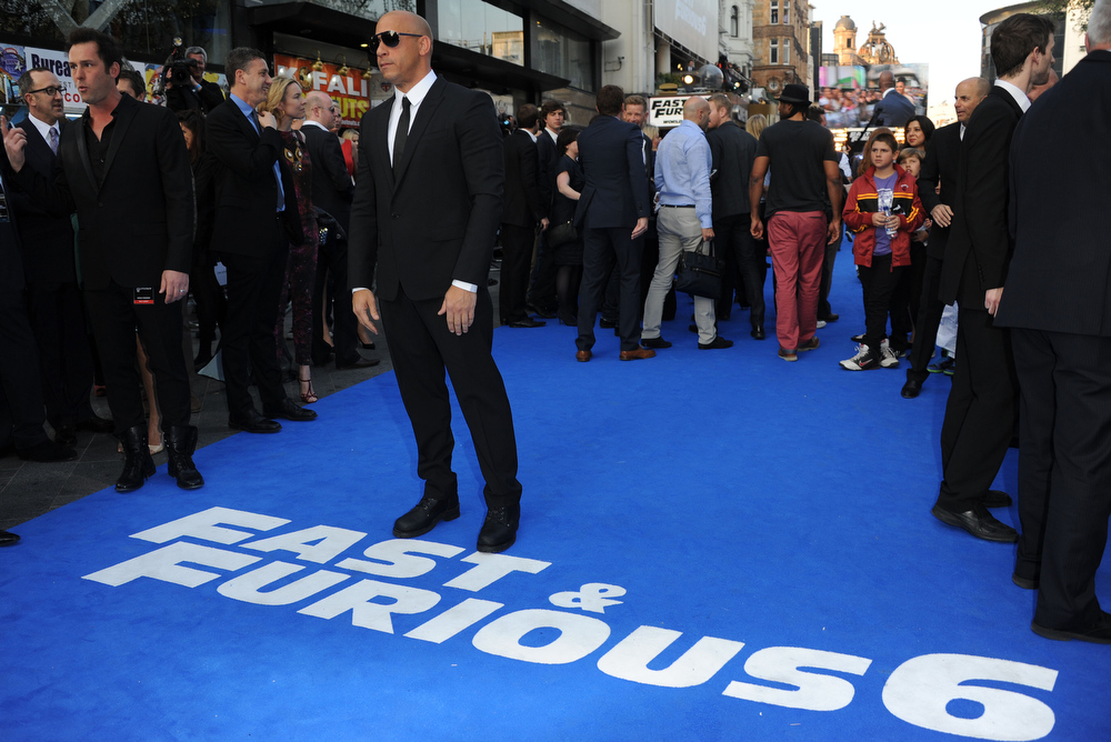 ". Actor Vin Diesel attends the ""Fast & Furious 6\"" World Premiere at The Empire, Leicester Square on May 7, 2013 in London, England.  (Photo by Stuart C. Wilson/Getty Images for Universal Pictures)"