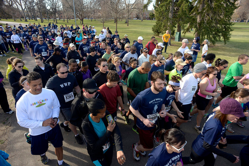 . Over 300 runners and walkers took part in the race.  Family, colleagues, and friends of slain Denver Police Officer Celena Hollis turned out April 7, 2013 for a 5k run and walk to raise money for a scholarship fun and a memorial bench in City Park in Denver, CO.  Over 300 runners and walkers participated in the race that started at 9:00 am.  The race looped around City Park.  After the race, a gathering was held to remember Hollis and 22 white doves were released in her memory.  (Photo By Helen H. Richardson/ The Denver Post)