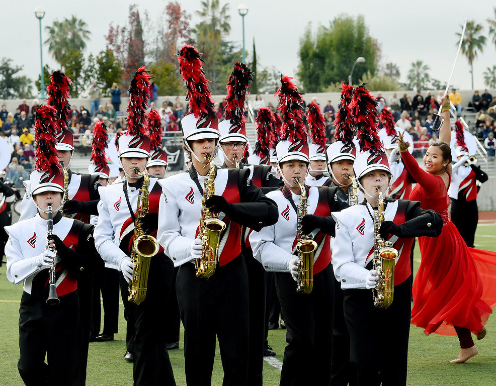 . Lakota West Marchsing Firebirds, from West Chester, Ohio performing at Bandfest Tuesday, December 30, 2014.  These feature bands selected to participate in the 2015 Rose Parade. Over the course of two days, each band, along with its auxiliary performers, will present the field show that has led to its success. Three Bandfest events will take place at Pasadena City College on December 29 and 30, 2014..(Photo by Walt Mancini/Pasadena Star-New)