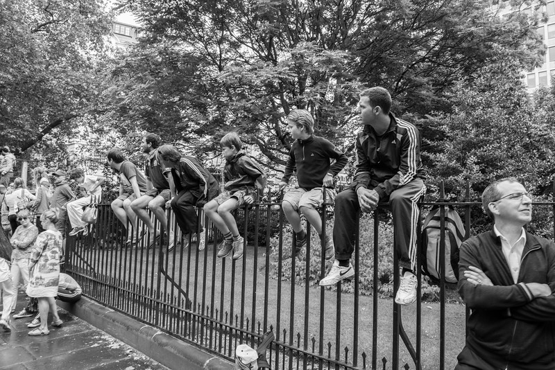 Central London - Tour De France spectators looking for a better view.
