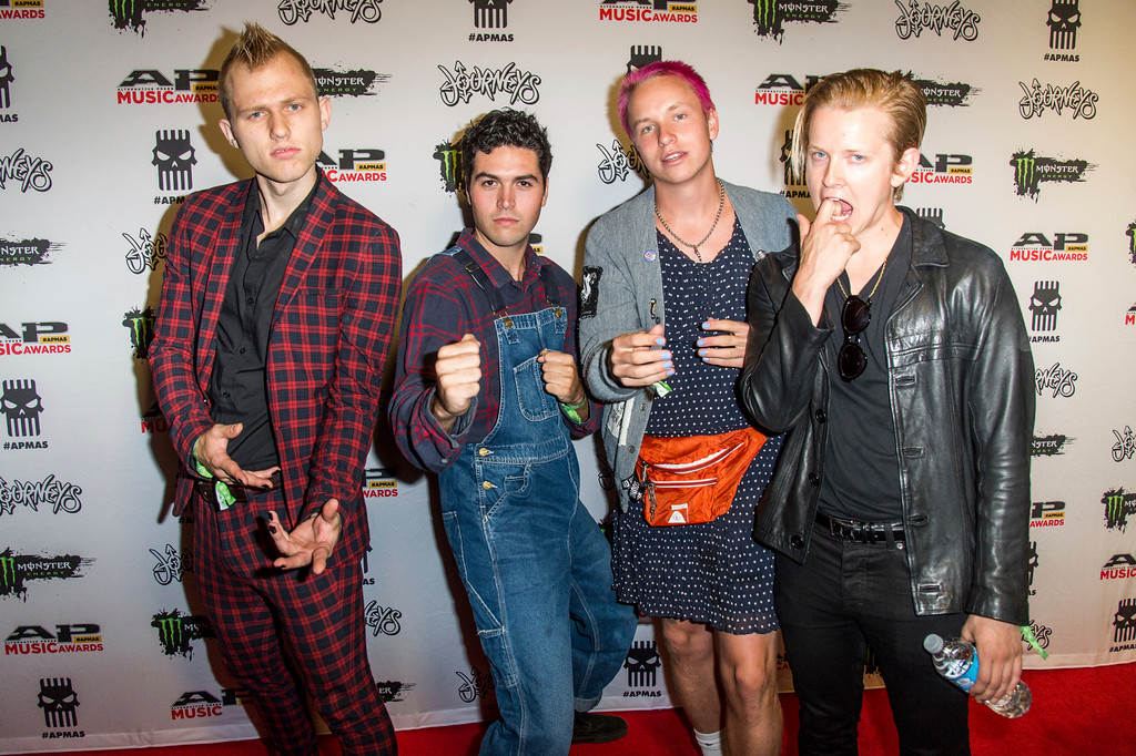 . Seb Mueller, from left, Joey Armstrong, Cole Becker and Max Becker of SWMRS seen at 2017 Alternative Press Music Awards at the KeyBank State Theatre on Monday, July 17, 2017, in Cleveland. (Photo by Amy Harris/Invision/AP)