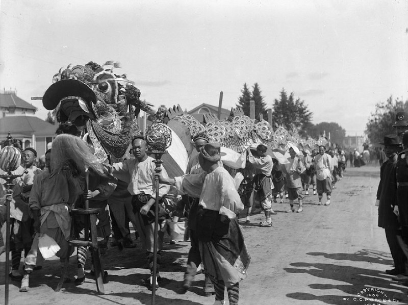 Chinese dragon in a parade, ca.1900