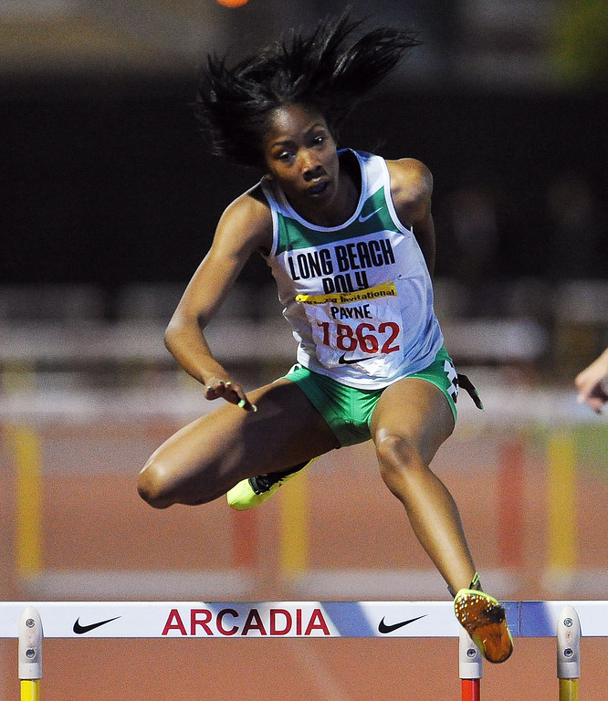 . Long Beach Poly\'s Kymber Payne finished second in the 300 meter hurdles invitational during the Arcadia Invitational at Arcadia High School on Saturday, April 6, 2013 in Arcadia, Calif.  (Keith Birmingham Pasadena Star-News)