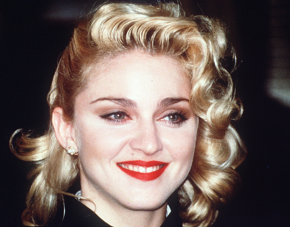 """. Pop singer and actress Madonna, in London, March 1986, to publicise her new movie \""""Shanghai Surprise\"""". (AP Photo/Peter Kemp)"""
