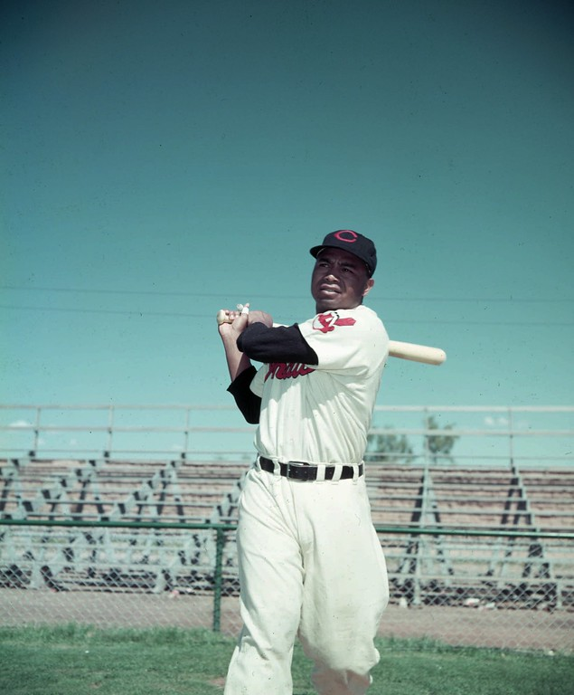 . This is a March 12, 1952 photo of Cleveland Indians Larry Doby. (AP Photo/files)