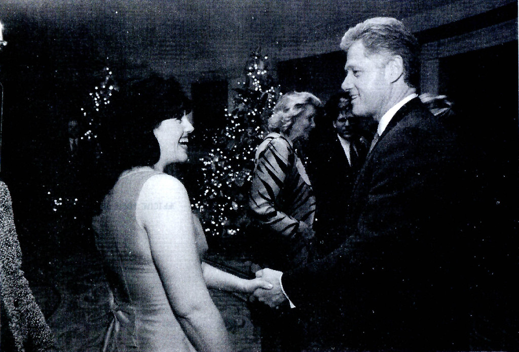 . A photograph showing former White House intern Monica Lewinsky meeting President Bill Clinton at a White House function submitted as evidence in documents by the Starr investigation and released by the House Judicary committee September 21, 1998.