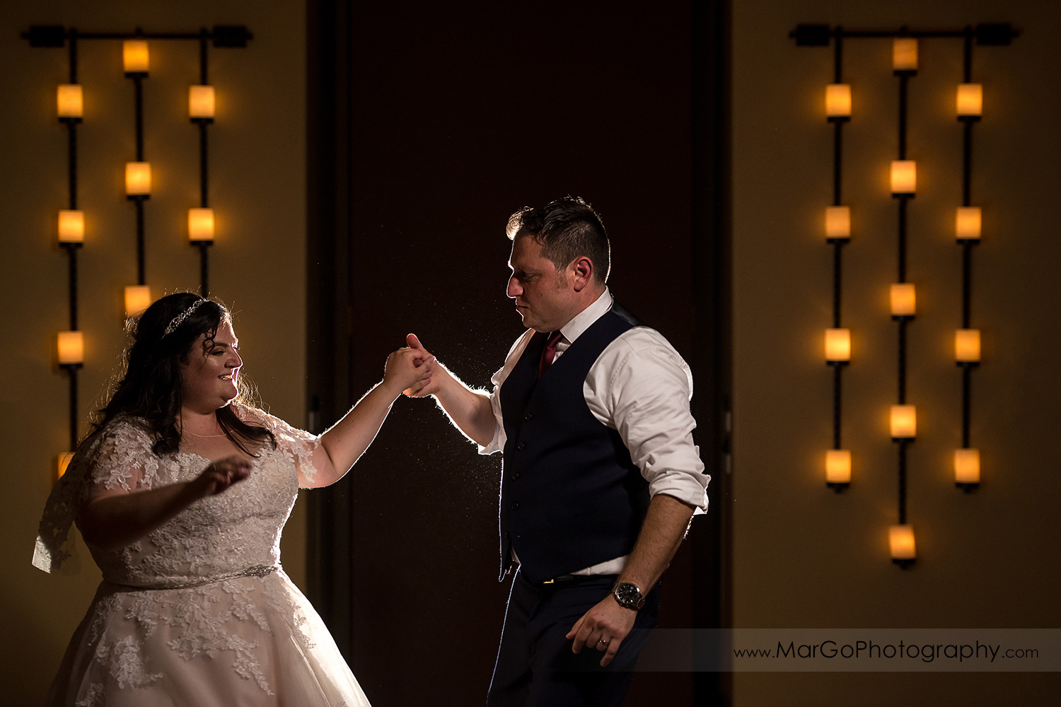 jewish bride and groom dancing during wedding reception at Livermore Garre Vineyard and Winery