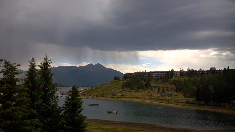 Raining across the lake, at Frisco.