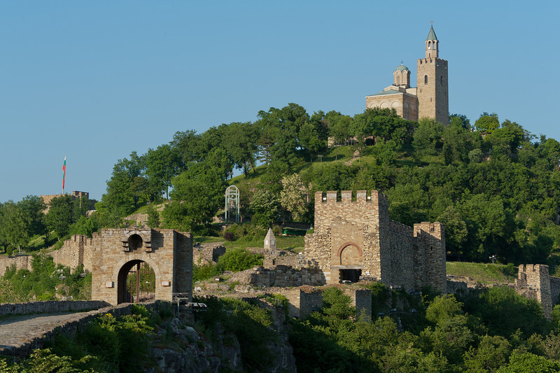Entrance gate to Tsarevets Fortress with The Patriarchal Cathedral of the Holy Ascension of God on top - Veliko Tarnovo, Bulgaria