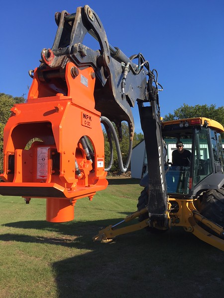 NPK C3D compactor on Cat backhoe - driving posts - Murphy Tractor  2-18 (2).JPG