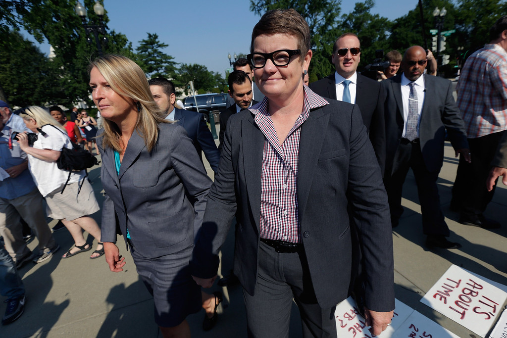 . WASHINGTON, DC - JUNE 25:  Plaintiff couple Sandy Stier (L) and Kris Perry (R) arrive for their Proposition 8 case before the U.S. Supreme Court outside the U.S. Supreme Court building on June 25, 2013 in Washington, DC. The high court convened again today to rule on some high profile decisions including two on gay marriage and one on voting rights.  (Photo by Win McNamee/Getty Images)