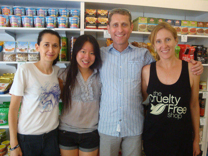 Next, it was time to pay my respects at the Cruelty Free Shop, who generously sponsored part of my speaking tour. The Sydney part was organised by the wonderful Kathy and Sy on the left.