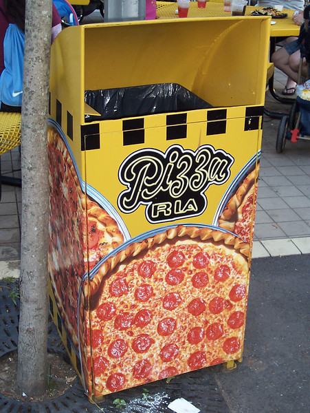 Another view of the Pizza Ria trash can.